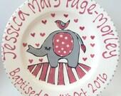 Elephant Baptism Gift Plate
