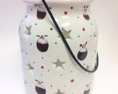 Christmas Pud, Ceramic Tea Light Holder/lantern
