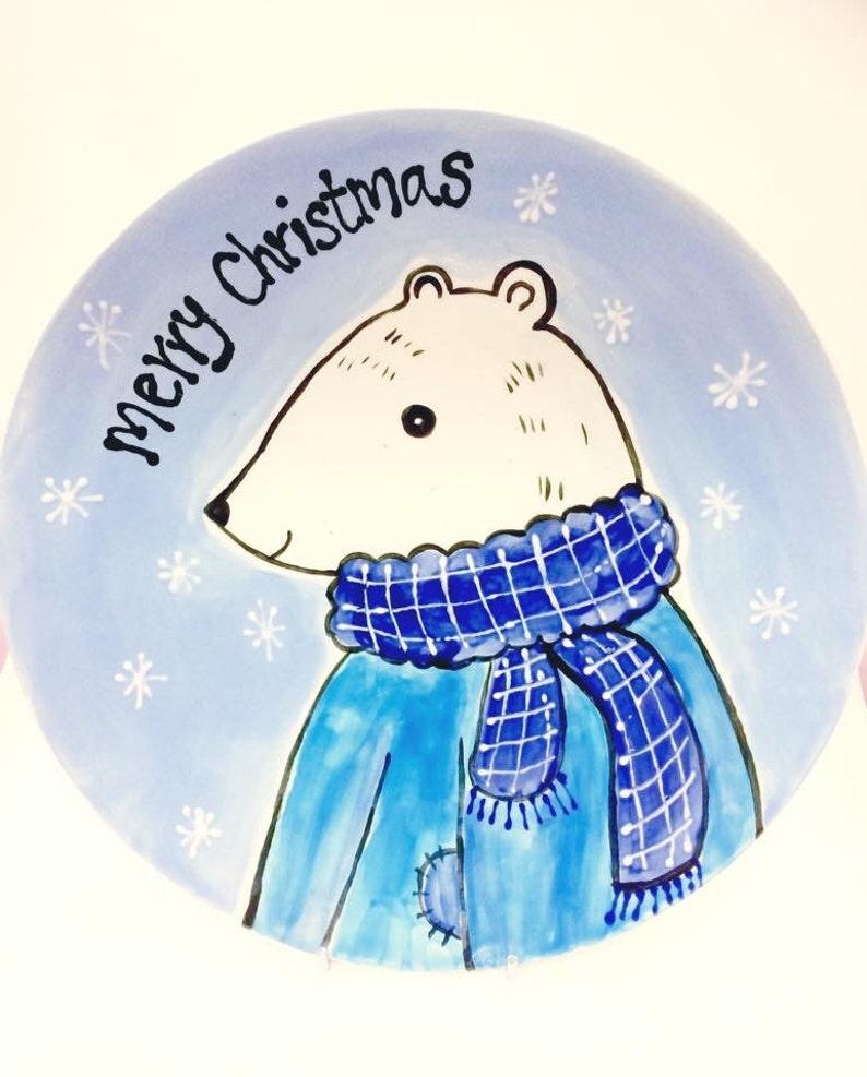 Hand Painted Polar Bear Christmas Plate image 0