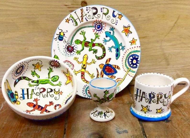 Children's Personalised Ceramic Gift Set Gecko Aztec image 0