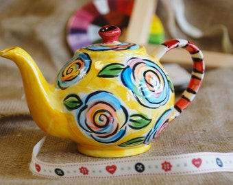 Mad hatters, hand painted Teapot