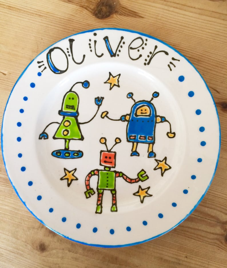 Personalised Children's Robot Plate image 0