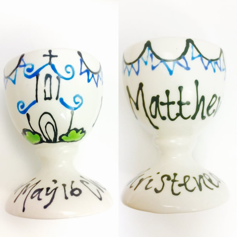 Boys Personalised Christening Egg Cup image 0