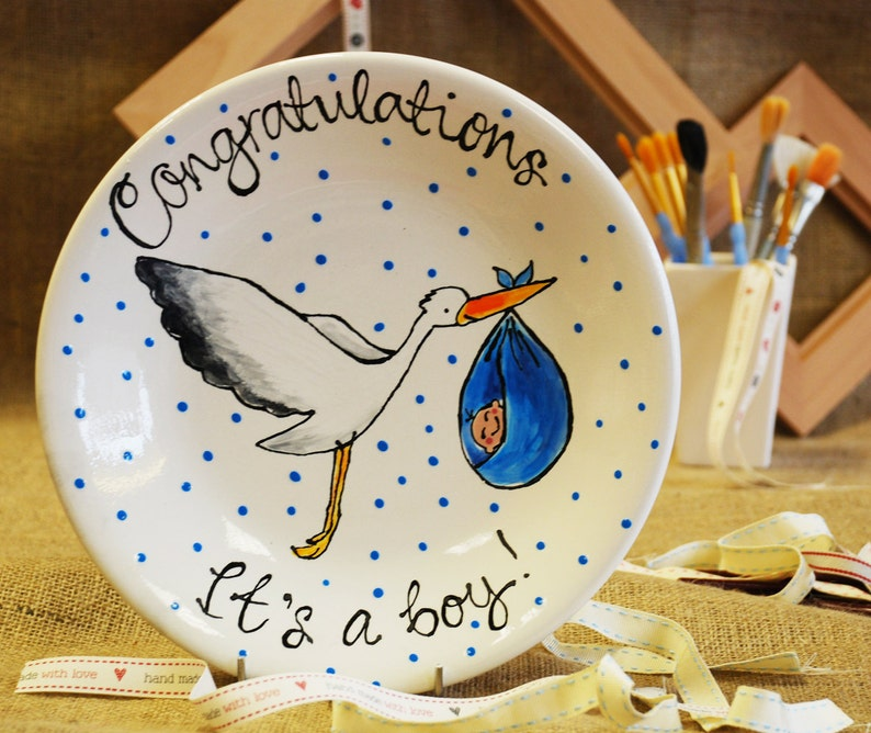 New Baby hand-painted ceramic plate image 0