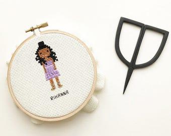 Rihanna Cross Stitch - Hoop Art - Rihanna Fan Art - Embroidery