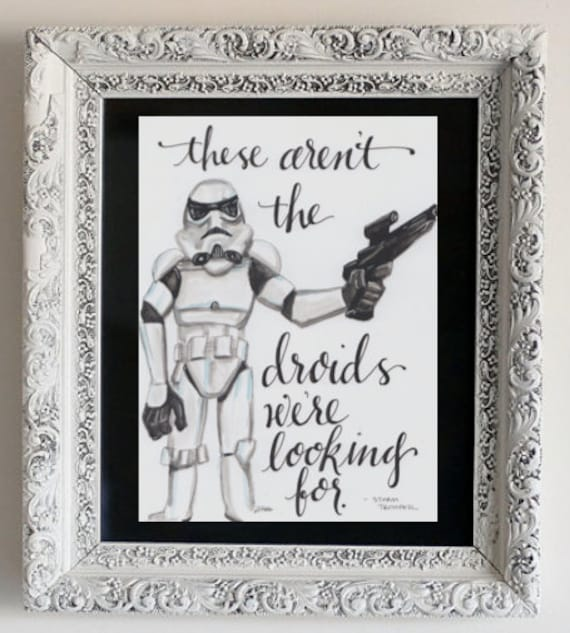 """StarWars """"Storm Trooper"""" Original Hand-Lettered Calligraphy and Watercolor piece"""