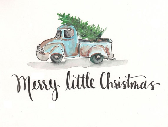 Vintage Truck Watercolor - Merry Little Christmas - Instant Download