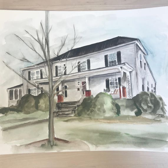Custom Watercolor Home/Business Painting