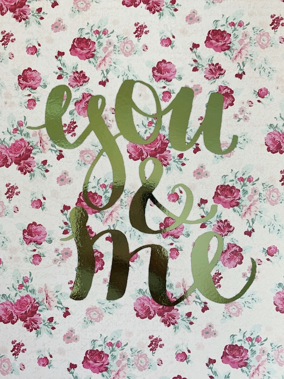 You & Me - Foiled Art Print - Floral Paper with Mint Green Shine