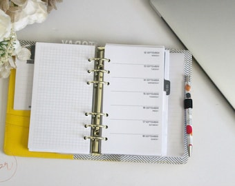 Personal Ring Size : WO1P + Full Grid | PRINTED Planner Inserts | DreamPlanRepeat