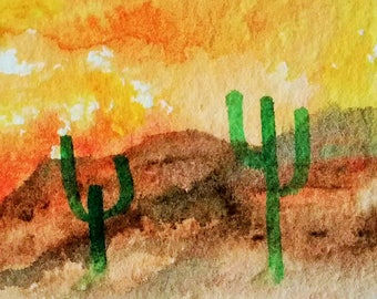 ACEO  Original  Art,  Southwestern landscape painting,  Collectable Art,  Frameable Art