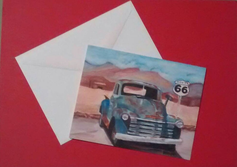 1950  chevy Truck Thank you card  aniversary gift frameable  art 4inx5in includes white envelope Note card  Rustic