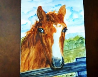 Horse Art  Watercolor, horse painting ,watercolor original horse portrait, 9inx12in unframed  Sale  50.00