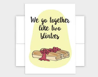 Jewish valentines etsy we go together like two blintzes jewish valentines day greeting card m4hsunfo