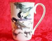 Lenox Winter Greetings Scenic Mug, Winter Greetings Chickadee And Goldfinch Mug, Lenox Bone China, Holiday Dinnerware, Holiday Serving Mugs