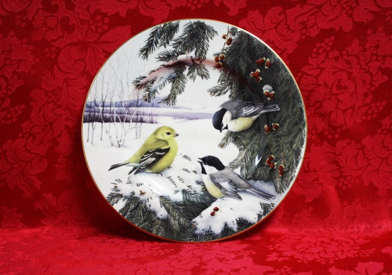 Lenox winter greetings scenic chickadees goldfinch plate etsy image 0 m4hsunfo