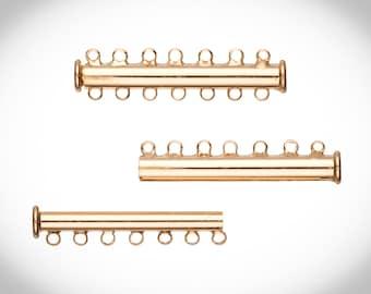 7-Strand Tube Slide Lock Jewelry Clasp-Gold Finished 10x5mm 4pcs