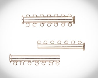 7-Strand Tube Slide Lock Jewelry Clasp-Silver Plated 10x5mm 3-Pair