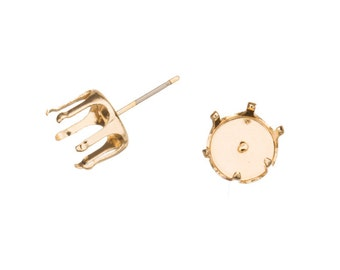 20pcs Round snap-on ear stud 14k gold finished brass fits 8mm Cabochons and crystal with surgical stainless steel pin 9x9mm