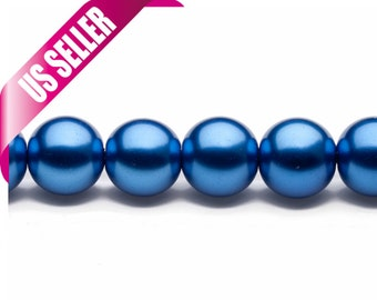 4-16mm round metallic-tone blue glass pearls 16inch string