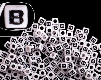 Letter B alphabet beads white acrylic cube 7mm Letter & Symbol Beads 50G/209pcs