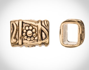 Aztec Style Licorice Slider Beads Fits 10x8mm Licorice Leather - Antique Gold Finished Sold per 2pcs
