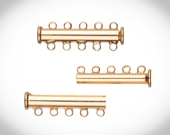 5-Strand Tube Slide Lock Jewelry Clasp-Gold Finished 10x5mm