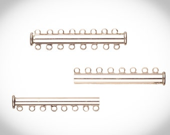 8-Strand Tube Slide Lock Jewelry Clasp-Silver Plated 10x5mm 3 Pairs