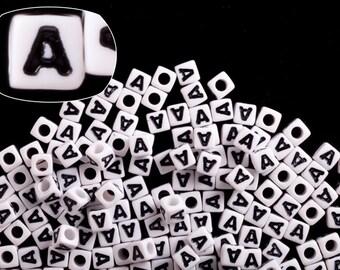 Letter A alphabet beads white acrylic cube 7mm Letter & Symbol Beads 50G/209pcs