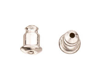 20pcs 5x7mm Silver-plated Bullet Clutch friction ear nut