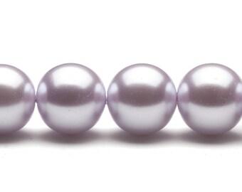 4-16mm round cream-tone light purple glass pearls 16inch string