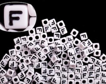 Letter F alphabet beads white acrylic cube 7mm Letter & Symbol Beads 50G/209pcs