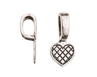 Grid Heart Antique-Silver Plated Glue-On Bail 10.3x21.5mm aanraku bail sold per pack of 10