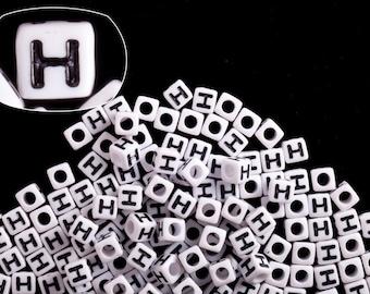 Letter H alphabet beads white acrylic cube 7mm Letter & Symbol Beads 50G/209pcs