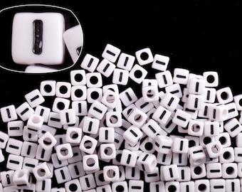 Letter I alphabet beads white acrylic cube 7mm Letter & Symbol Beads 50G/209pcs