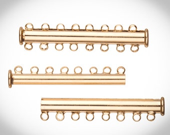 8-Strand Tube Slide Lock Jewelry Clasp-Gold Finished 10x5mm 3pcs