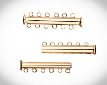 6-Strand Tube Slide Lock Jewelry Clasp-Gold Finished 10x5mm