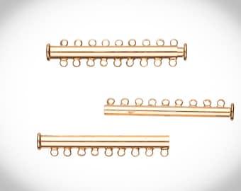 9-Strand Tube Slide Lock Jewelry Clasp-Gold Finished 10x5mm 3pcs