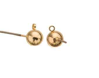 10pcs 6mm Ball earstud with loop, 16k gold-finished gold-finished brass with surgical stainless steel pin, 8x17mm