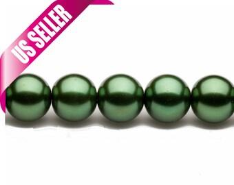 4-16mm round metallic-tone dark forest green glass pearls 16inch string