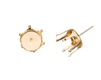 20pcs Round snap-on ear stud 14k gold finished brass fits 10mm Cabochons and crystal with surgical stainless steel pin 11x11mm