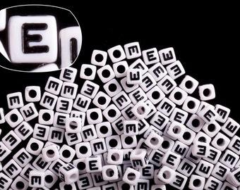 Letter E alphabet beads white acrylic cube 7mm Letter & Symbol Beads 50G/209pcs
