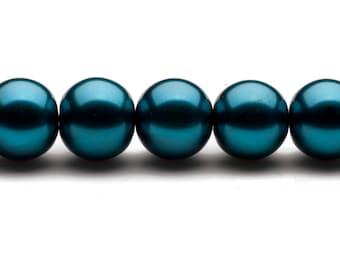 4-16mm round metallic-tone teal glass pearls 16inch string