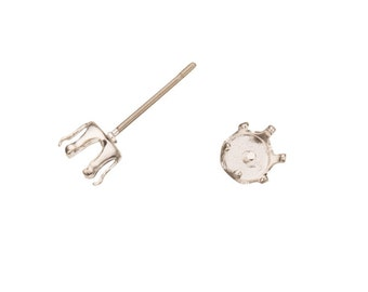 20pcs Round snap-on ear stud Silver plated brass fits 5mm Cabochons and crystal with surgical stainless steel pin 5x5mm