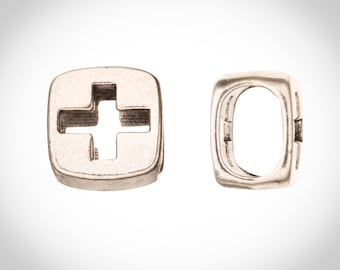 Hallow Cross Licorice Beads Fits 10x8mm Licorice Leather - Antique Silver Plated Sold per 4pcs