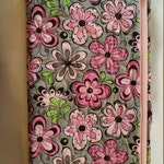 Quilted Cosmetic Bag, Wristlet, Pink and Grey Floral, Travel Bag, Cell phone Bag