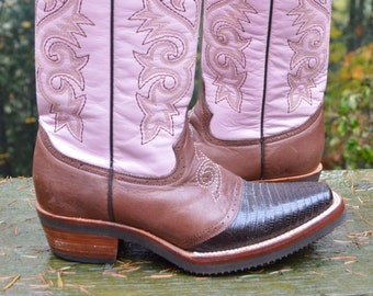 Size 9B ~  PINK Ferrini Women's Bison/Lizard Saddle Vamp Cowgirl