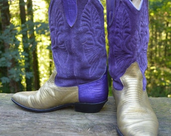Size 8M - Brass Plum Husky Cowgirl Boot