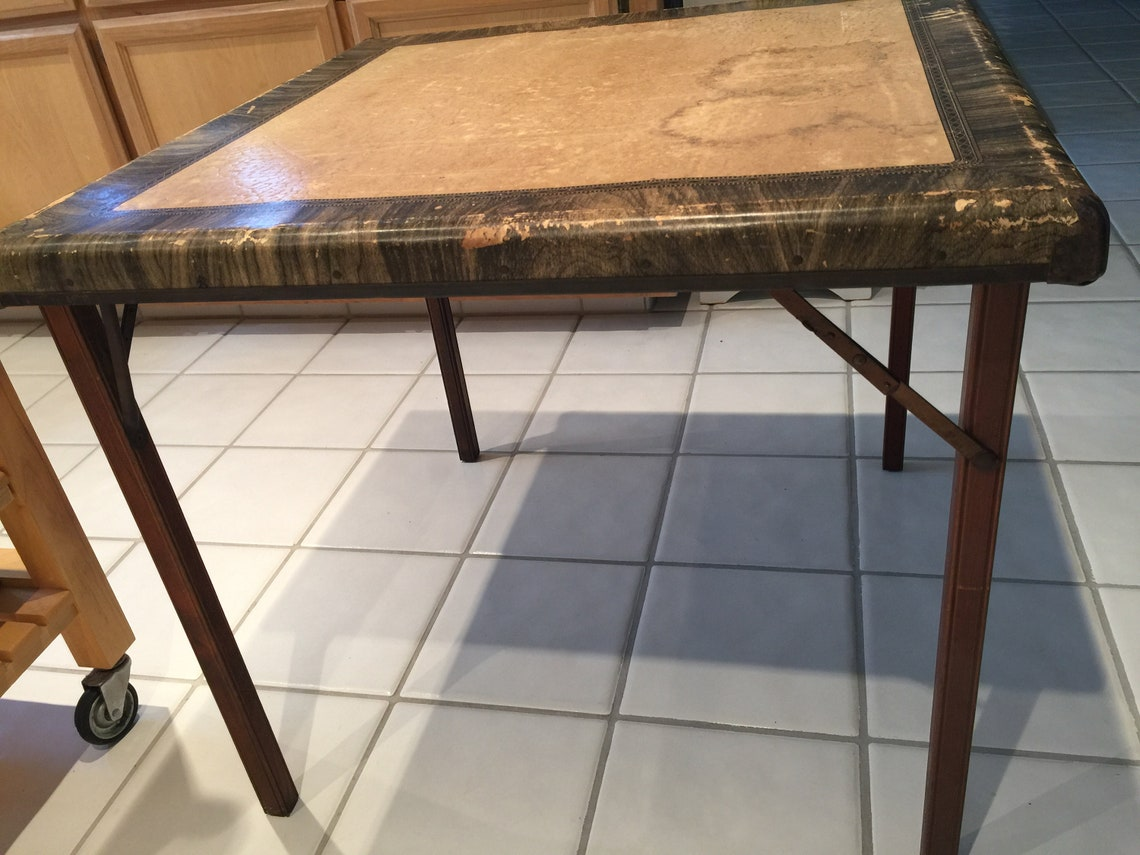 Antique Folding Samson Card Table with Wooden Legs - FREE SHIPPING!
