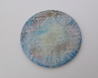 Shimmering romantic aqua and bronze circular focal element